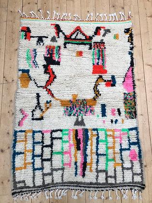 Tapis berbère Azilal à motifs fluos 1,44x1,02m