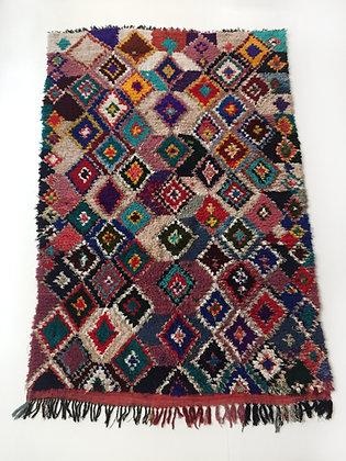 Tapis berbère Boucherouite à motifs losanges colorés 2,69x1,77m