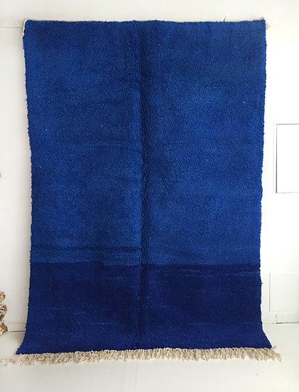 Tapis berbère Beni Ouarain bleu intense 2,83x2,02m