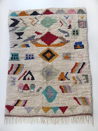 Tapis berbère Boujaad écru à motifs colorés 2,63x1,85m