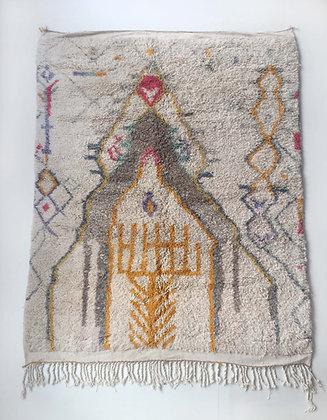 Tapis berbère Boujaad écru à motifs colorés 2,59x1,98m