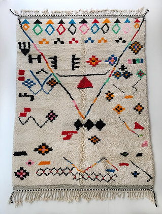 Tapis berbère Azilal à motifs graphiques colorés 2,95x2m