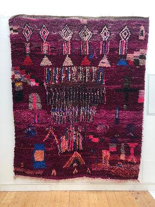 Tapis berbère Boujaad prune à motifs colorés 2,42x2,02m