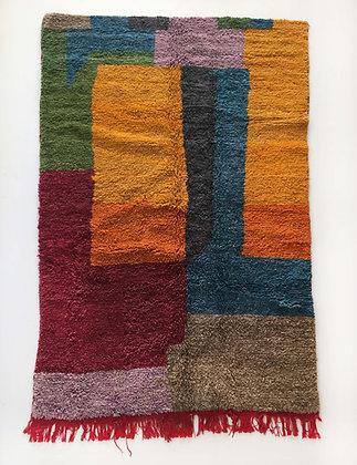 Tapis berbère Boujaad à aplats colorés 2,40x1,47m