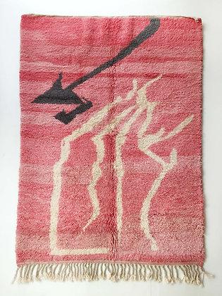 Tapis berbère Beni Ouarain rose à motifs colorés 2,46x1,61m