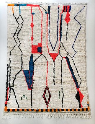Tapis berbère Azilal écru à motifs colorés et fluo 3,10x2,03m