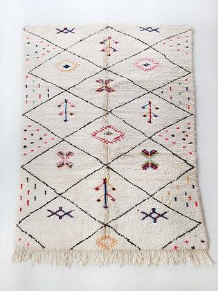 Tapis berbère Beni Ouarain écru à losanges et motifs colorés 2,24x1,54m