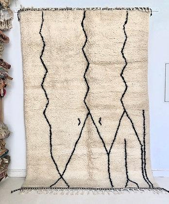 Tapis berbère Beni Ouarain à motifs libres noirs 2,93x1,94m
