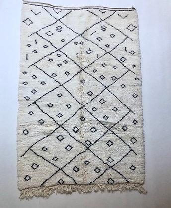 Tapis berbère Beni Ouarain à motifs noir et gris 2,47x1,63m