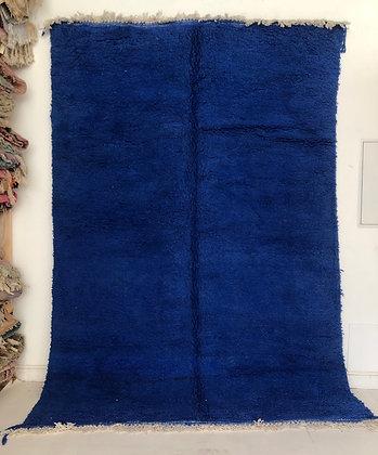 Tapis berbère Beni Ouarain bleu intense uni 2,94x2,07m