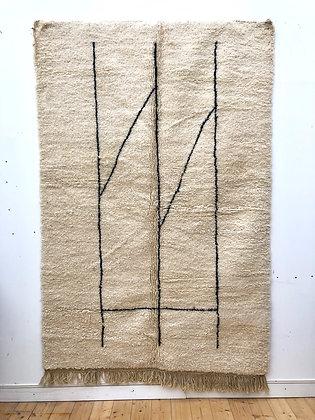 Beni Ouarain à motifs géométriques noirs 2,49x1,62m