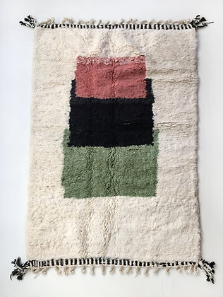 Tapis berbère Beni Ouarain à motifs colorés 2,36x1,39m