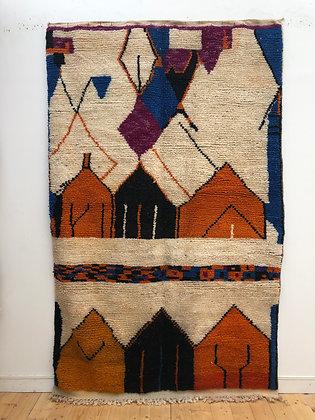 Tapis berbère Boujaad à motifs colorés 2,66x1,66m