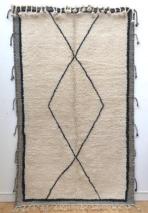 Tapis berbère Beni Ouarain avec contour Zanafi 2,65x1,6m