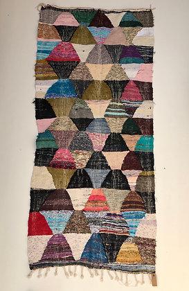 Tapis berbère Kilim Boucherouite 2,41x1,1m