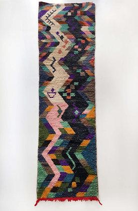 Tapis berbère Boujaad couloir à motifs colorés 3,50x0,86m