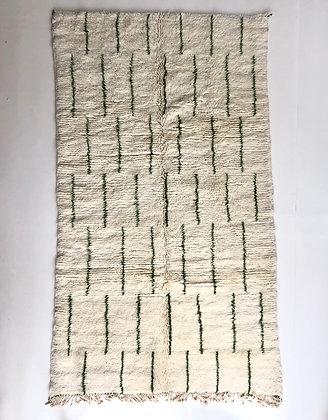 Tapis berbère M'rirt à motifs kaki 2,42x1,40m