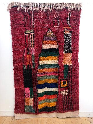 Tapis berbère Boujaad fond rouge et couleurs vives 2,6x1,49m