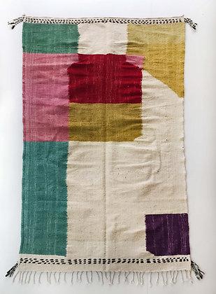 Kilim berbère écru à motifs colorés 2,45x1,40m