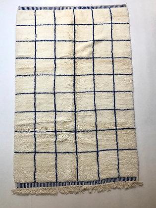 Tapis berbère Beni Ouarain à carreaux bleu majorelle 2,52x1,60m