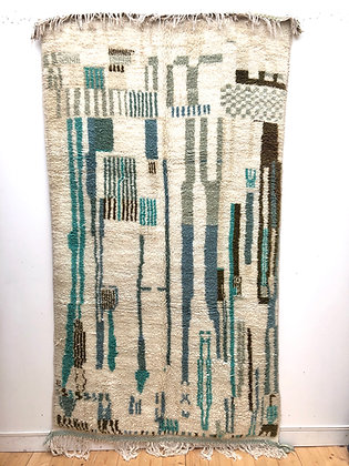 Tapis berbère Azilal camaïeu de verts et bleu 2,60x1,41m