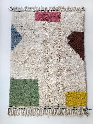 Tapis berbère Beni Ouarain écru à aplats colorés 2,40x1,62m