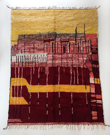 Tapis berbère Beni Ouarain rouge à motifs colorés 3x2,11m