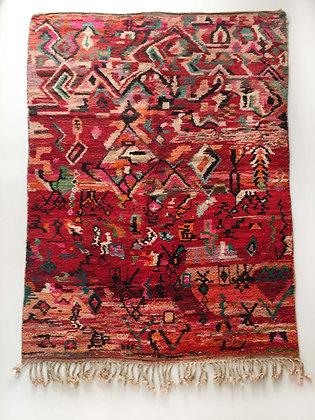 Tapis berbère Boujaad rouge à motifs colorés 3,02x1,98m