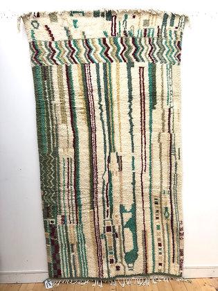Tapis berbère Azilal à motifs de lignes colorées 2,58x1,42m