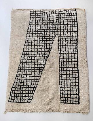 Tapis berbère Beni Ouarain écru à motif graphique 2,20x1,60m