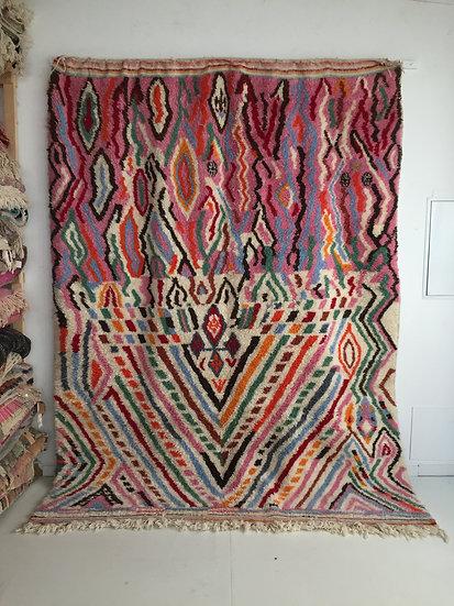 Tapis berbère Beni Ouarain à motifs colorés 2,92x2,22m