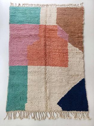 Tapis berbère Boujaad écru à aplats colorés 3,13x1,98m