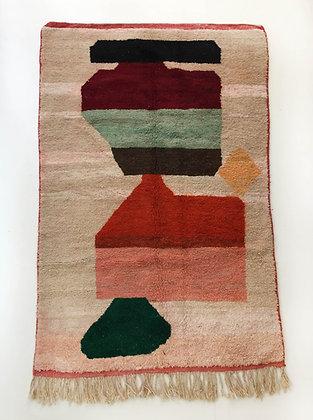 Tapis berbère Boujaad à aplats colorés 2,45x1,50m