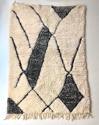 Tapis berbère Marmoucha à motifs graphiques noirs 2,59x1,80m