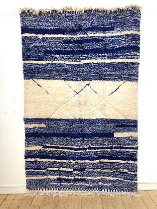 Tapis berbère Beni Ouarain bleu et écru 2,68x1,64m