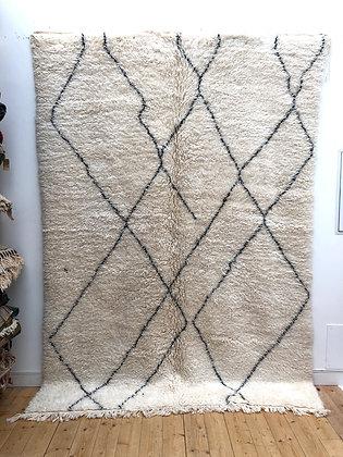 Tapis berbère Marmoucha à motifs graphiques noirs 2,81x1,98m