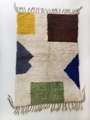 Tapis berbère Beni Ouarain écru à motifs colorés 2,10x1,30m