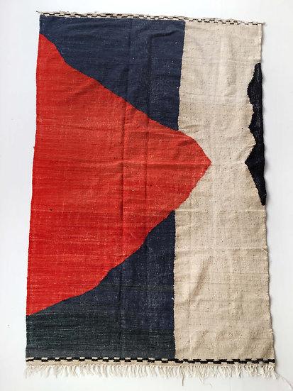 Kilim berbère à aplats colorés 2,55x1,53m
