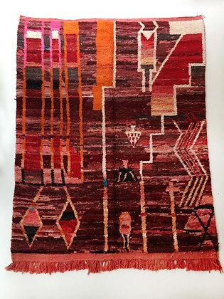Tapis berbère Boujaad rouge à motifs colorés 2,85x2,02m
