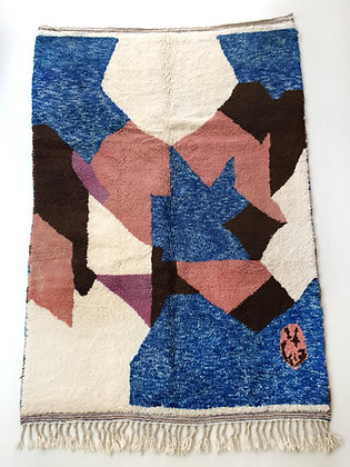 Tapis berbère Beni Ouarain écru à aplats colorés 2,50x1,68m
