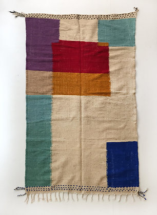 Kilim berbère écru et aplats colorés 2,39x1,37m