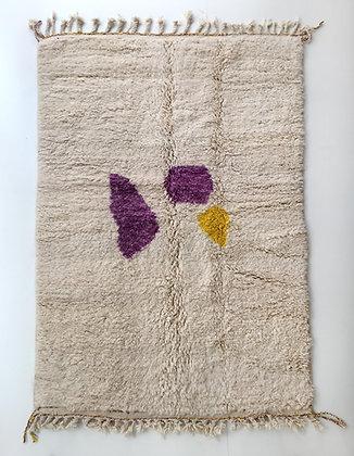 Tapis berbère Beni Ouarain écru à motifs colorés 2,42x1,55m