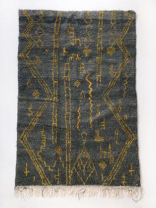 Tapis berbère Boujaad gris à motifs jaunes 2,54x1,51m