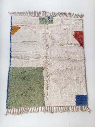 Tapis berbère Beni Ouarain écru à motifs colorés 1,95x1,57m