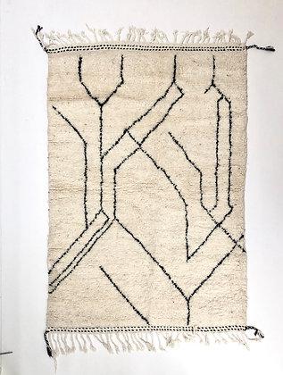 Tapis berbère Beni Ouarain à motifs graphiques noirs 1,96x1,36m
