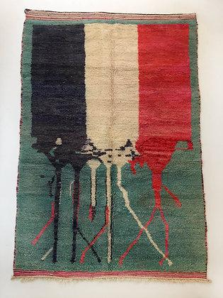Tapis berbère Boujaad vert à aplats colorés 2,64x1,65m