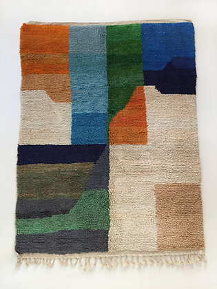 Tapis berbère Boujaad à aplats colorés 2,78x1,97m