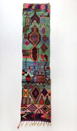 Tapis berbère Boujaad couloir à motifs colorés 3,32x0,70m