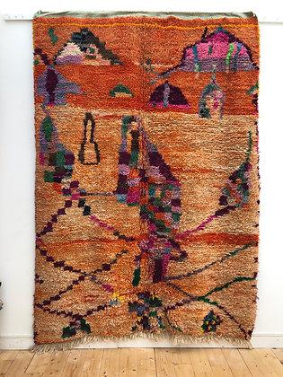 Tapis berbère Boujaad orange à motifs colorés 2,5x1,81m