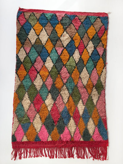 Tapis berbère Boujaad à losanges colorés 2,50x1,52m